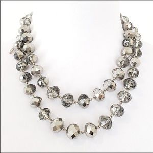 Kenneth Cole Long Metallic Faceted Bead Necklace